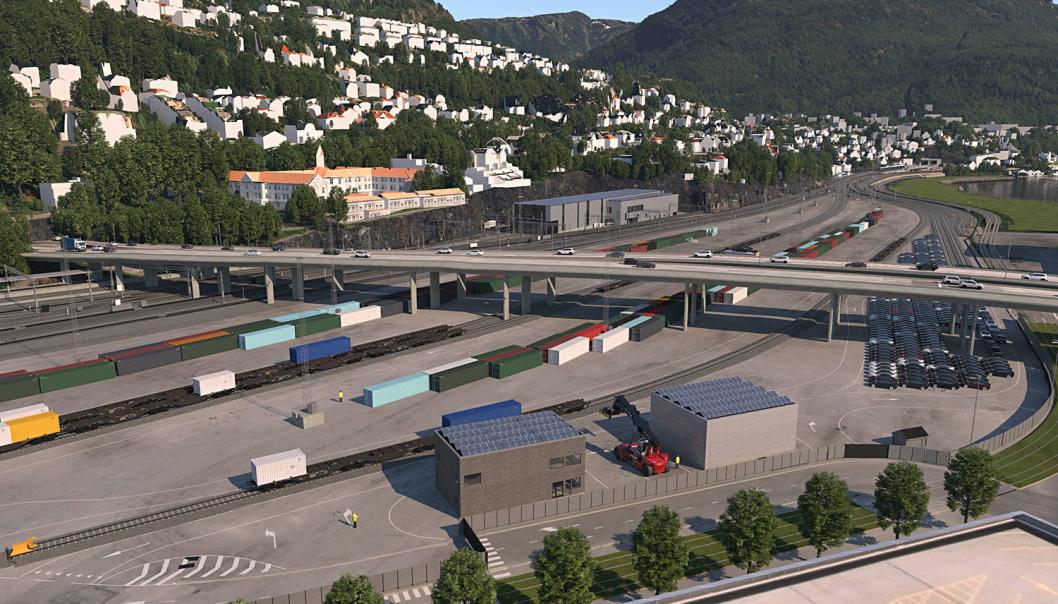 Nygårdstangen godsterminal i Bergen er stridens eple. Den skal bygges om for å bli mer effektiv. De to speditørene Schenker og PostNord som er kastet ut av Nygårdstangen har funnet seg nye lokasjoner. (Illustrasjon: Bane NOR/COWI AS)