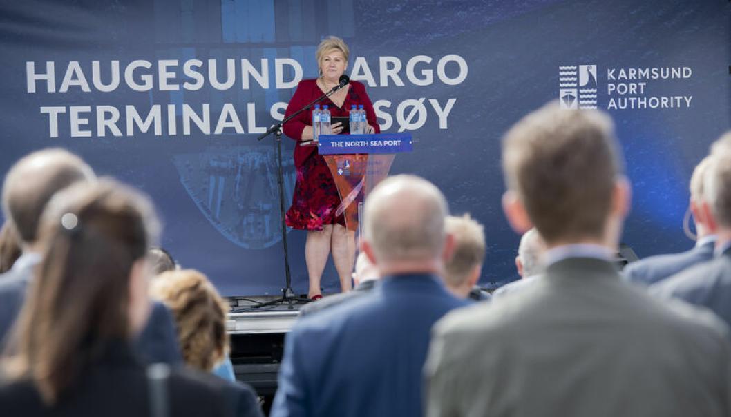 Nå er det to år siden statsminister Erna Solberg åpnet Haugesund Cargo Terminals, (Foto: Øyvind Sætre.)