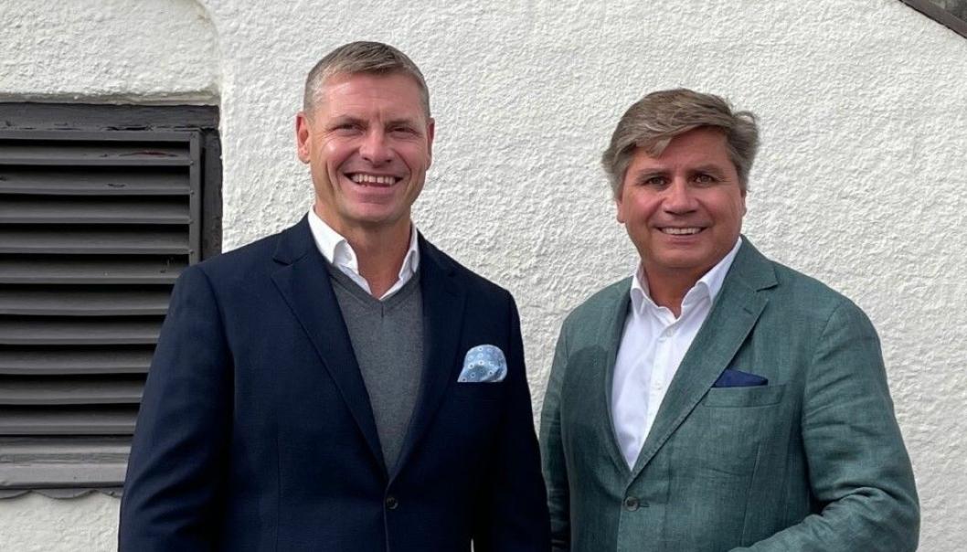 Bygger 17.000 kvadratmeter med Bulk i Enebakk. Dag Klem i Bulk Industrial Real Estate og styreleder i Lettbutikk, Tom Hauge.