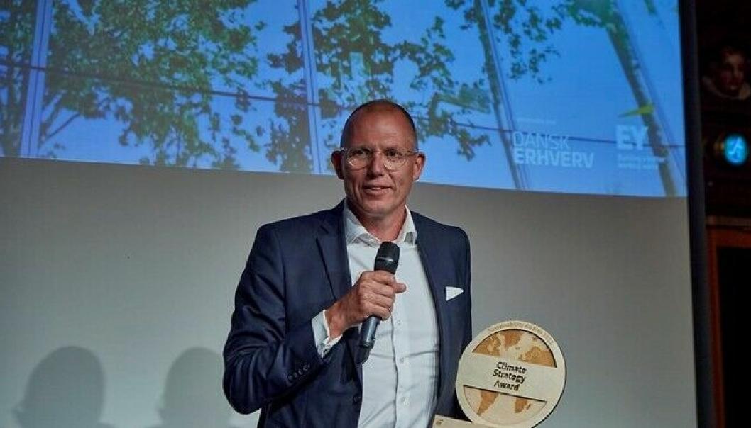 DSVs konsernsjef, Jens Bjørn Andersen, mottok personlig den danske klimastrategiprisen onsdag.