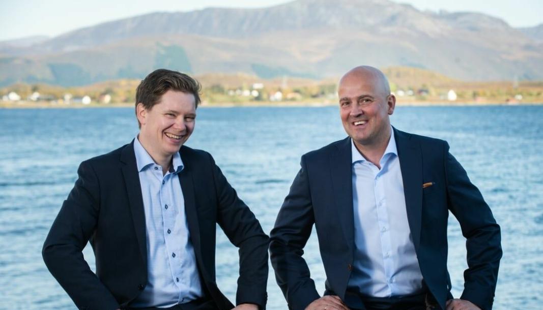Et solid to-spann, adm. direktør Martin Rasmussen (t.v.) og fersk prosjektdirektør Jostein Nilssen skal føre fiske- og industrieventyret Andfjord Salmon på Andøya videre.